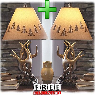 Deer Antler Lamp Set Of 2 Shade Table Furniture Hunting Modern -
