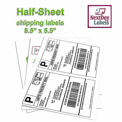 500 Half Sheet Shipping Labels 8.5 X 5.5 Self Adhesive 2sheet For Usps Paypal
