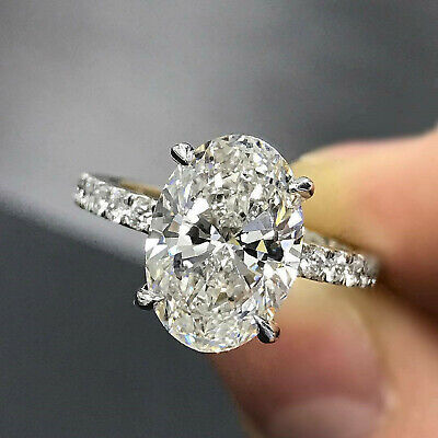 3.53 Ct Oval Cut Solitaire Diamond Engagement Ring Real Solid 14K White Gold Cut Solitaire Ring