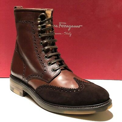 Ferragamo TRAMEZZA MAXIMO Leather Wingtip Ankle 6 39 Fashion Men's Dress Boots