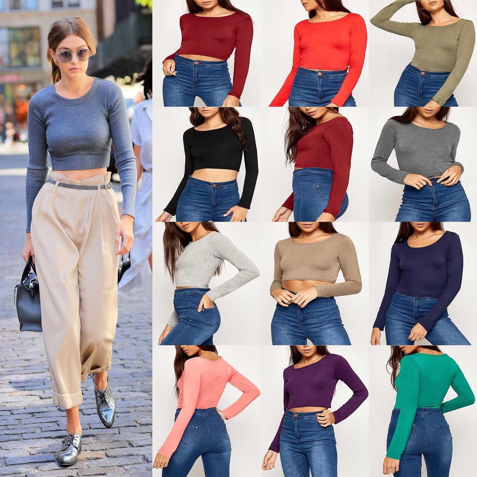 3575bca3f7ce3 New Womens Long Sleeve Crop Top Ladies Scoop Crew Neck Cropped T shirt Vest