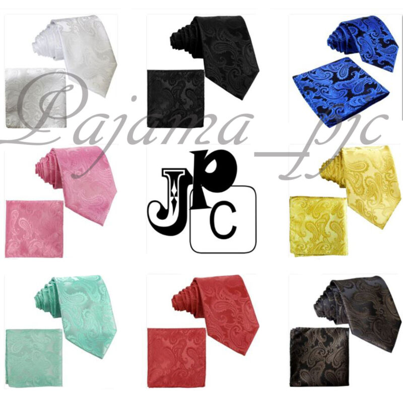 Classic Paisley Neck Tie And & Pocket Square Hankie Set 2pc Formal Party Wedding