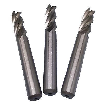 Us Stock 3pcs 8mm Four 4 Flute Hss Aluminium End Mill Cutter Cnc Bit