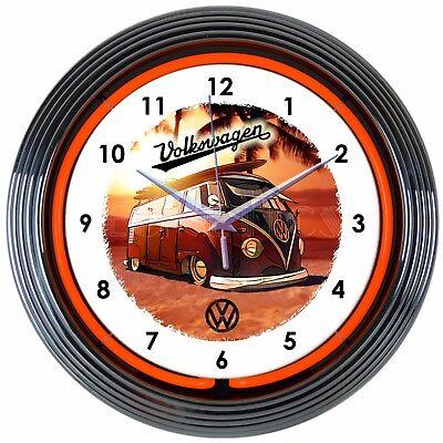 Restaurant Vintage Diner Neon Wall Clock Set Of 4 Vw Coke Rt 66 Us Flag 15 Inch