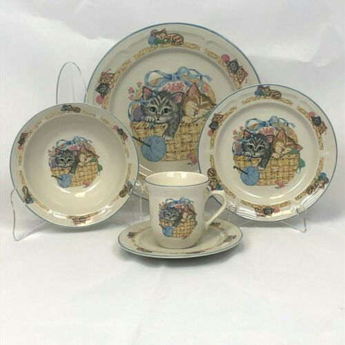 5 PIECE PLACE SETTING TIENSHAN KITTEN CAT PURRFECT FRIENDS DINNER PLATE BOWL CUP