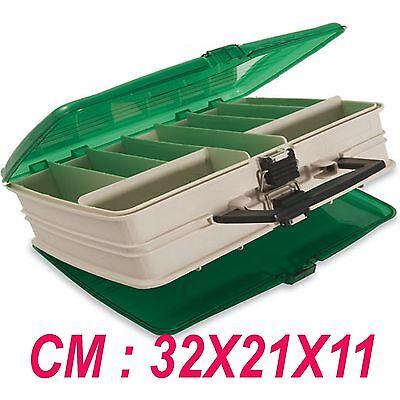 cassetta porta accessori da pesca scatola girelle ami galleggianti fili trota