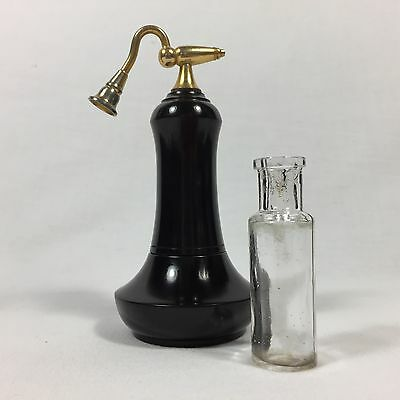 1920s EBONY PERFUME ATOMISER ANTIQUE WOODEN VANITY SET VINTAGE WOOD GLASS BOTTLE