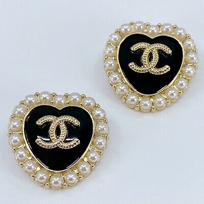 One Pair Authentic CHANEL Buttons, Stamped Gold Metal 22mm Designer Art Buttons
