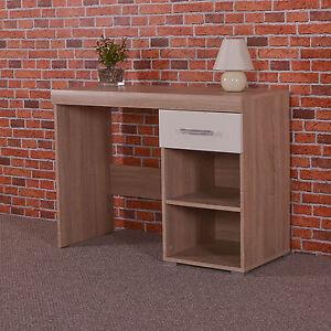White Sonoma Oak Dressing Table 1 Drawer Shelf