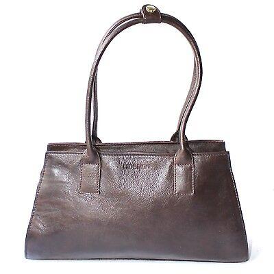 HIDESIGN Brown Soft Leather Shoulder Handbag Double Handles Medium Zip Close