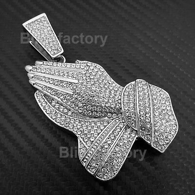 - HIP HOP ICED WHITE GOLD PLATED BLING LAB DIAMOND LARGE PRAYING HANDS PENDANT