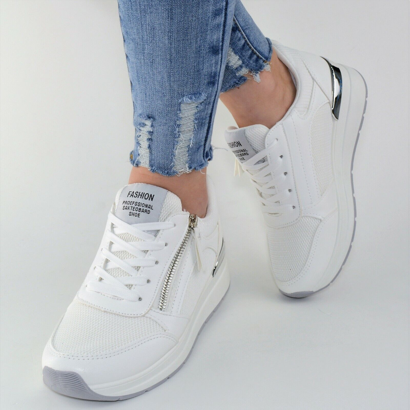 damen schuhe sneaker weiss wei plateau glitzer