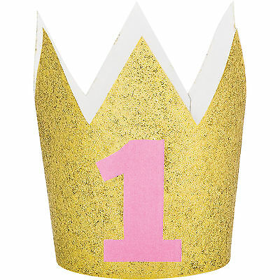 Girl's Happy 1st Birthday Party Mini Gold Glitter Crown Paper Hat