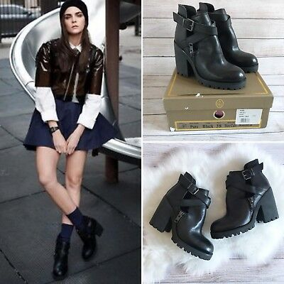 Ash Footwear Pure Cutout Boots UK 5 Black Box Calf Goth Grunge Blogger Trend NIB Black Box Leather Footwear