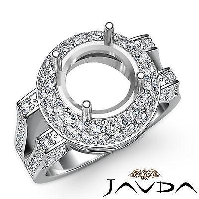 Diamond Engagement Round Ring 18k White Gold Halo Pave Setting Semi Mount 1.1Ct