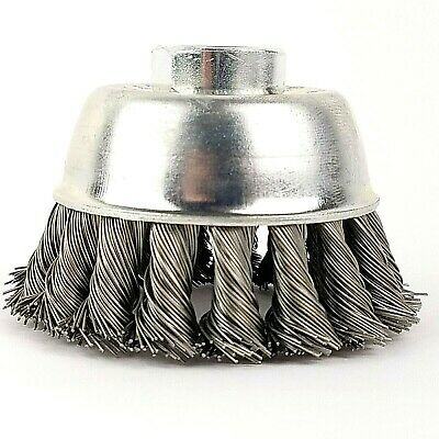 2-34 Knot Cup Brush Carbon Steel Wire - 58 Arbor - 78 Wire Length - Grinder