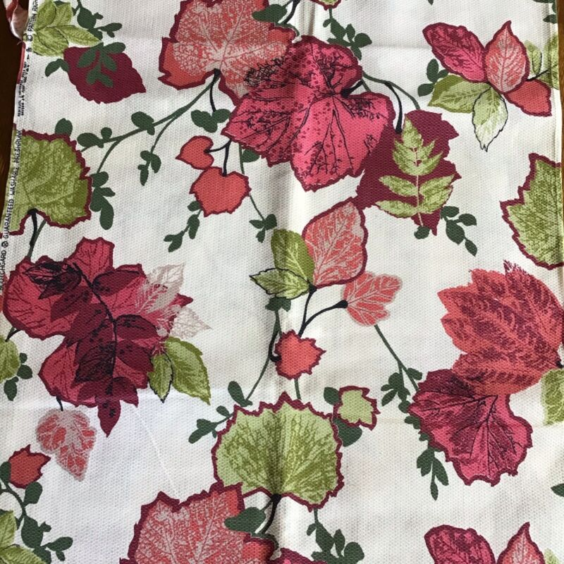 "Vintage 1961 MCM Eames style BARKCLOTH FABRIC Leaves Pink Green 69""x45""+ Remnant"