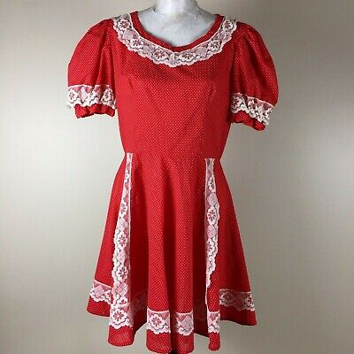 Womens Handmade Clown Dress Square Dance Costume Red White Polka Dot size 10](Clown Dress)