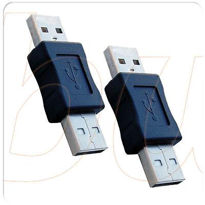 2 Conectores Adaptador USB Tipo A MACHO / MACHO prolongador alargador