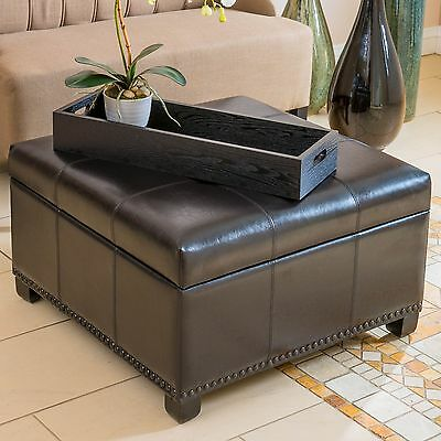 Espresso Brown Leather Square Storage Ottoman w/ Nailheaded Accent