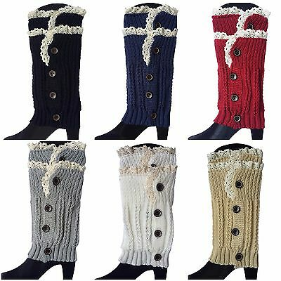 Button Down Lace Trim Boot Socks Cuffs Toppers Crochet Knitted Short Leg Warmers Lace Boot Topper