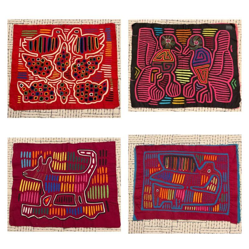 Lot Of 5 Vintage Kuna Mola Folk Fabric Art Work Embroidery