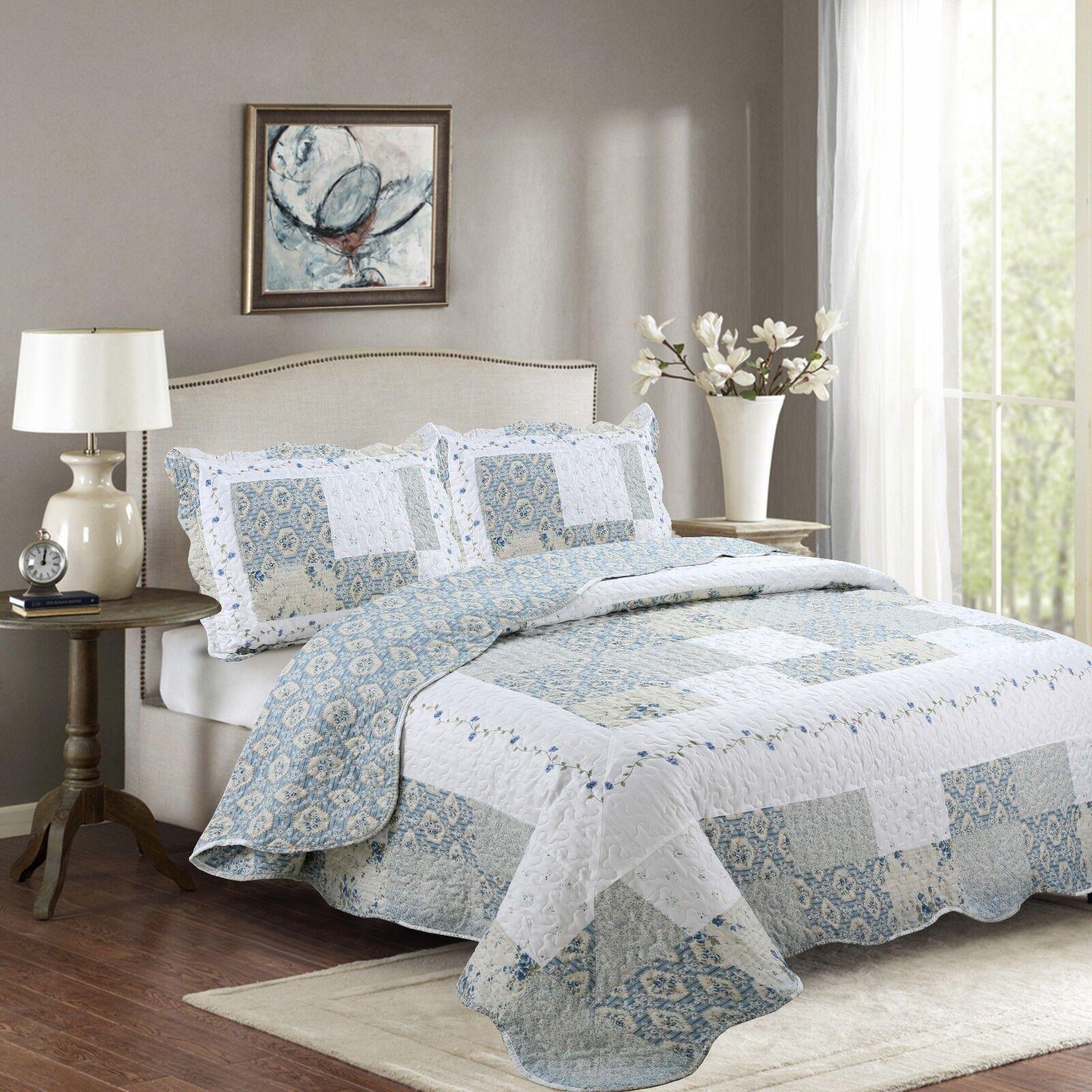 Fancy Linen Reversible Bedspread Floral White Blue Beige All