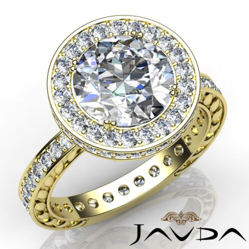 Halo Double Prong Round Diamond Engagement Floral Design Ring GIA F VS1 2.5 Ct