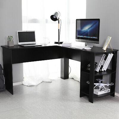 Black L-shaped Computer Desk Corner PC Table Workstation Home Office w/ Shelves