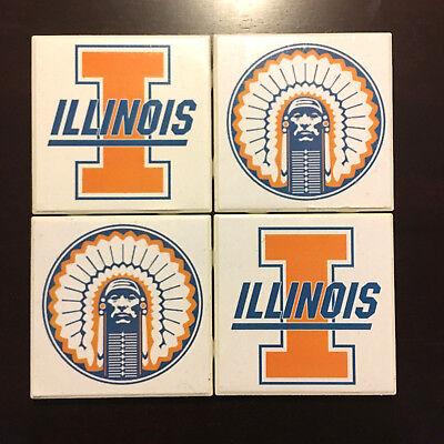 Univeristy of Illinois Illini 4 Pack Ceramic Drink Coasters Mancave Bar Kitchen 4 Pack Ceramic Coasters