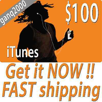 100 APPLE US ITUNES CARD Gift Certificate FAST FREE Worldwide Shipping - $114.75