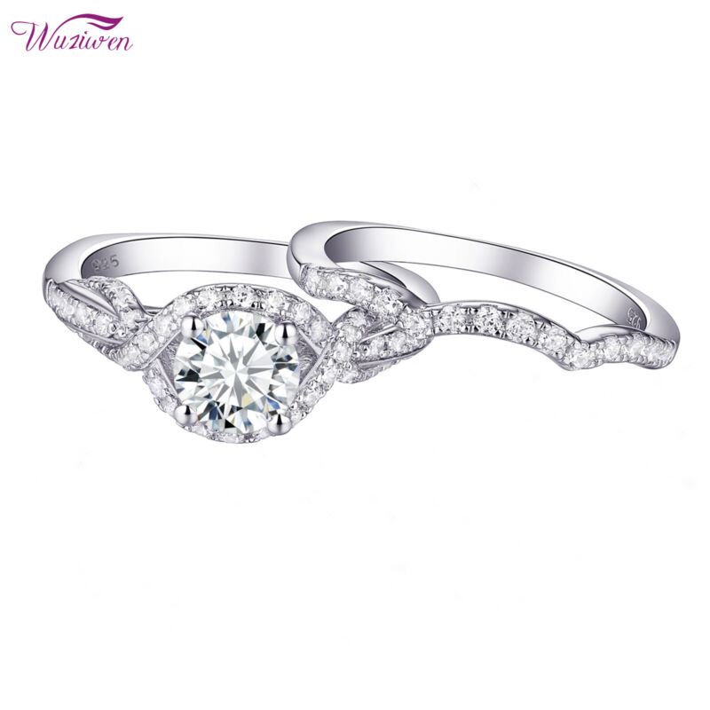 Wuziwen Wedding Engagement Ring Set For Women 1.7ct Round Cz 925 Sterling Silver