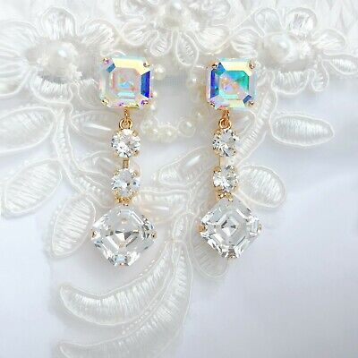 Square Aurora Borealis Diamond Earrings With CRYSTALLIZED™ Swarovski Elements