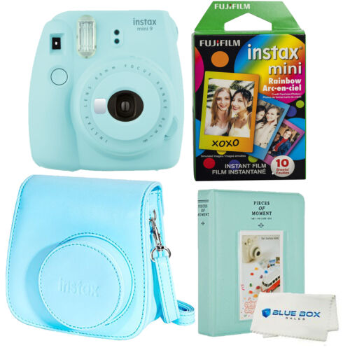 Fujifilm Instax Mini 9 Polaroid Ice Blue Instant Camera, cas