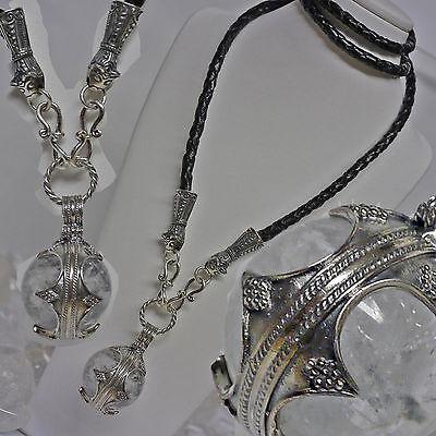 Wikingerkette viking beast Lederkette 925 Silber Gotland Bergkristall Anhänger