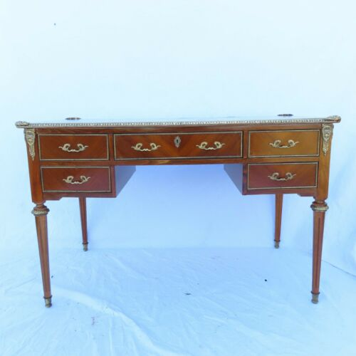 VTG Louis XVI Style Fruitwood Desk w/ Bronze Mounts 5 Drawer Antique Estate