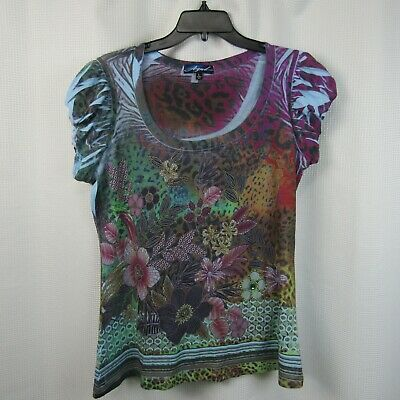 Azul Stretch Womens Casual Shirt Size L Multi Color Sparkles