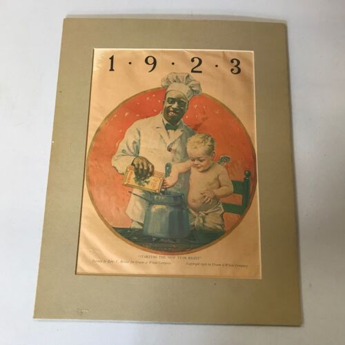 "1922 CREAM OF WHEAT ""STARTING THE NEW YEAR RIGHT"" Edward V. Brewer Art Print Ad"