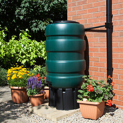 Whitefurze 230L Water Butt and Kit Green With Stand Diverter Tap Outdoor Barrel