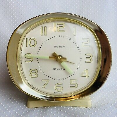Vintage Westclox Big Ben Cream Wind Up Alarm Clock Glow in Dark Hands Numbers -