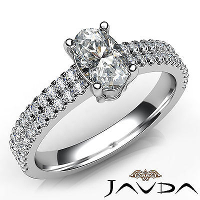 Oval Natural Diamond Double Prong Engagement Ring GIA Certified F Color VS1 1Ct