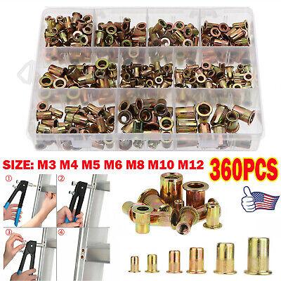 360x M3-m12 Metric Zinc Steel Rivet Nuts Tool Kit Rivnut Nutsert Insert Assort