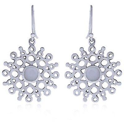 mother of pearl earrings on genuine 925 sterling silver sunburst design modern