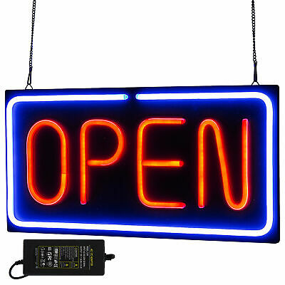 Neon Open Sign 24x12 Inch Led Light 30w Horizontal Bar Decorate Hanging Chain