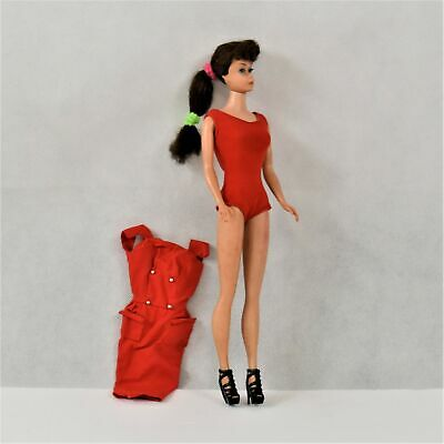 1960's Ponytail Barbie #4 Midge/Barbie Body in Red Vintage Bathing Suit Preowned