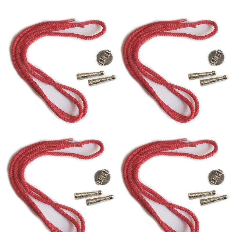 Blank Bolo Tie Parts Kit Round Slide Textured Tips Red Cord Silvertone Pk/4