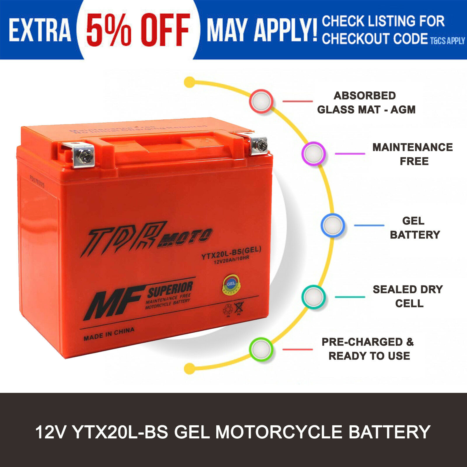 ytx20l-bs gel battery harley-davidson softail fat boy flstf 1991–2015 efi