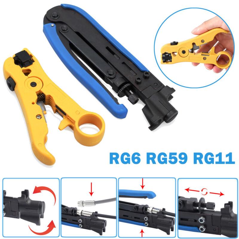 Coax Cable Crimper Stripper RG6 RG59 RG11 W/Compression Connectors Hand Tool