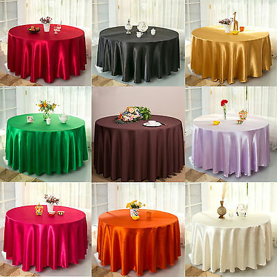 Dia 228CM Round Satin Tablecloth Cover Linen Cloth Banquet Wedding Table Decor Dia Round Banquet Table