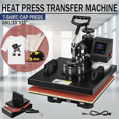 15x15 2in1 Combo Heat Press Transfer Machine T-shirt Cap Hat Sublimation